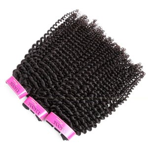 Image 2 - Yvonne 4A 4B rizado cabello humano mechones con cierre 3 mechones brasileño de la armadura del pelo de la Virgen mechones con cierre 4x4
