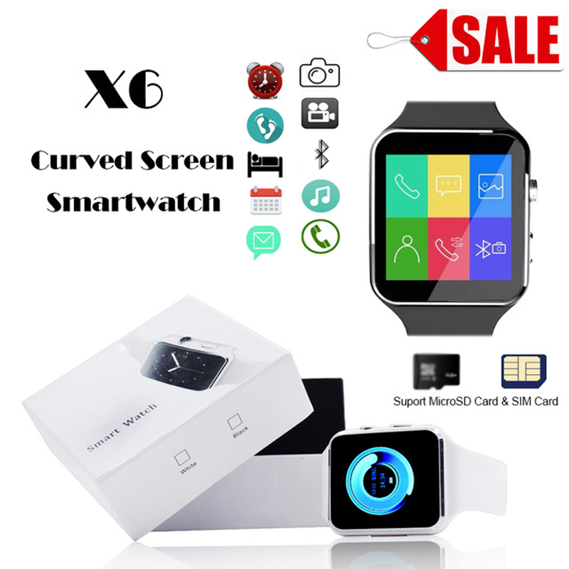 Sports Bluetooth Smart Watch X6 Curved Screen with Camera Support SIM Card Whatsapp Facebook For iPhone Android PK GT08 #C0