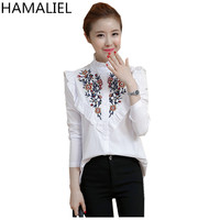 HAMALIEL Embroidery Floral Shirt Top 2017 Fashion Cute Style Cotton Long Sleeve Fungus Striped Collar Ladies