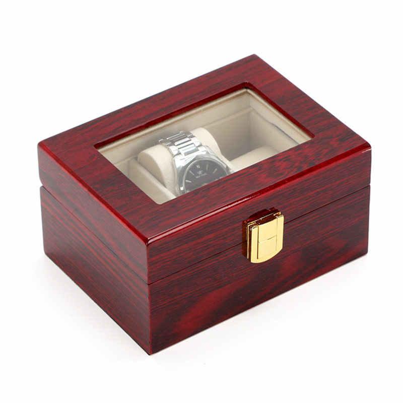 3 слота коробки для часов корпус светло-красный деревянный органайзер для часов пианино краска часы хранения подарочная упаковка