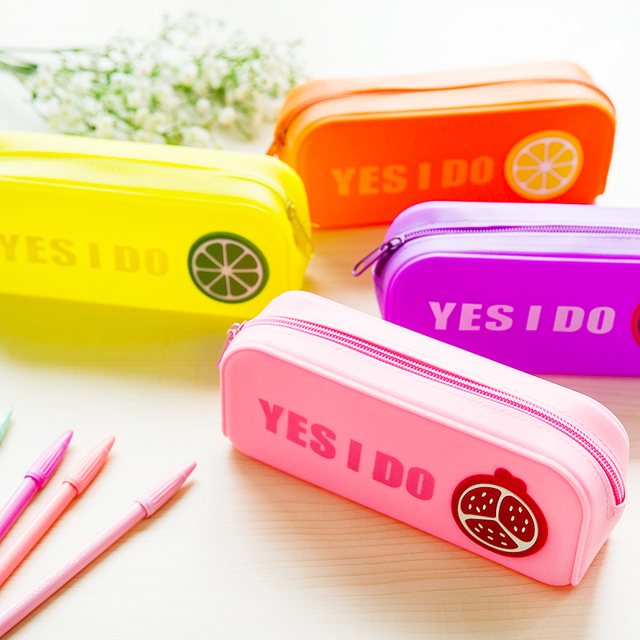 Korea stationery multifunctional fruit bag cosmetic bag color silicone bulk pencil box