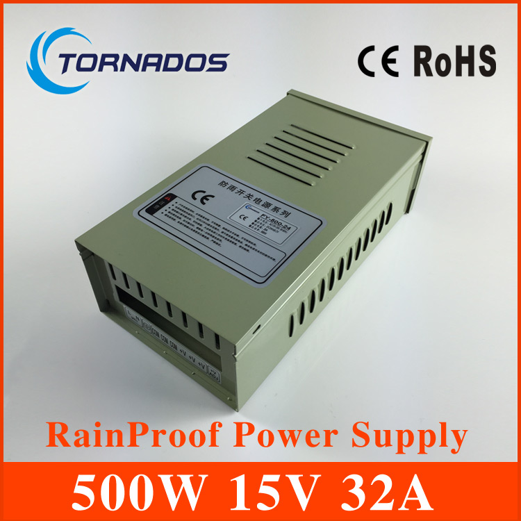 CE approved 500w 15V 32A metal case single output reliable rainproof power supply  AC-DC FY-500-15 ce approved oem 500w 15v dc power supply high efficiency transformer 15v 32a china supplier