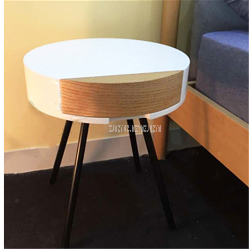 Modern Small Round Tea Coffee Table With Drawer Storage Wood Stoving  Varnish Living Room Bedroom Corner Sofa Side Table 45cm