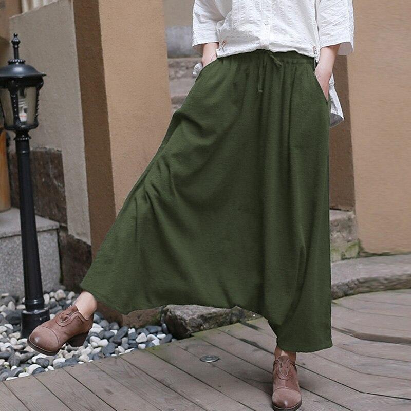 2019 Women Elastic Waist Low-Crotch Solid Long Pantalon Autumn Pockets Loose Cotton Linen Hip Hop Harem Pants Trousers Oversized