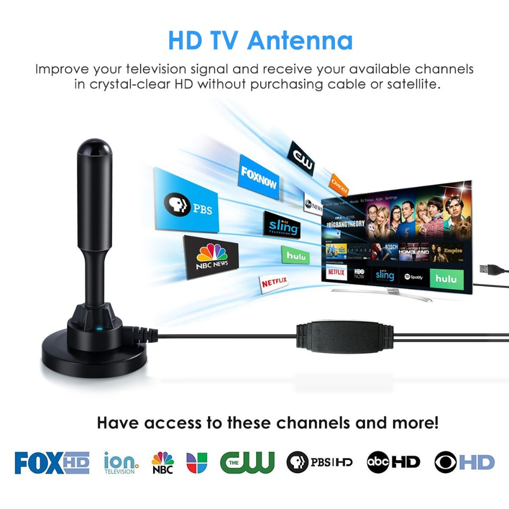 004 HD TV Antenna Digital HDTV Indoor Antenna 150 Miles Signal Reception in TV Antenna from Consumer Electronics