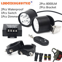 LDDCZENGHUITEC Universal Led Motorcycle Bike Headlight Bulb 40W Waterproof Driving Spot Fog Lights External MOTO DRL