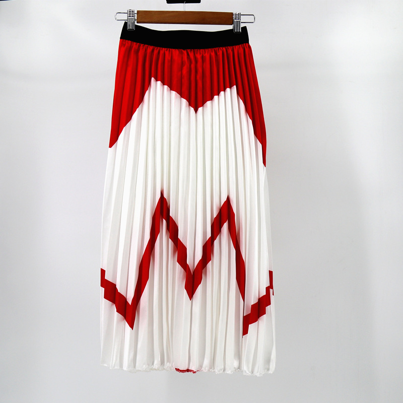 MNOGCC Streetwear Rainbow Discoloration Silk Surface Retro Women Skirts High Street Style A-Line Striped Pleated Long Skirts