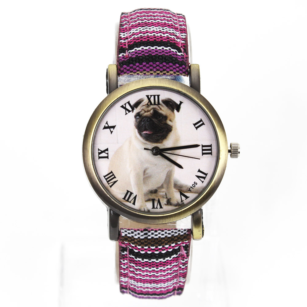 Dog Fashion Pug Dog Puppy Pet Animal Watches Ejército Militar Deporte Denim Cinturón de Lona 7 Tipos Colorido Reloj de pulsera de Cuarzo relogio