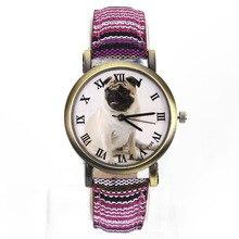 Купить с кэшбэком New Fashion Pug Dog Love Animal 7 Kinds Colorful Denim Canvas Belt Military Army Outdoor Sports Quartz Wrist Watch