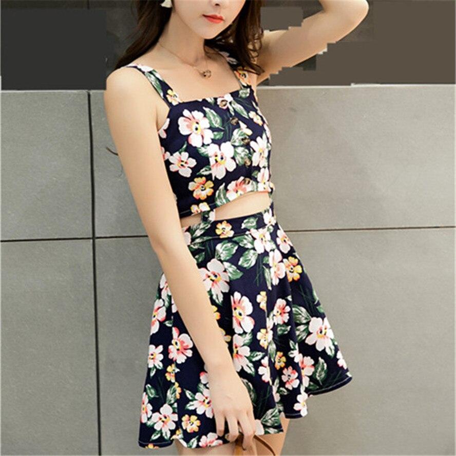 Suspender cotton Dress braces dress mini high waist Female flowers plaid splicing Dress flowes plaid slim for young girl women