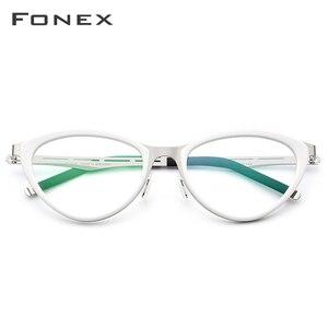 Image 2 - Fonex acetato óculos quadro feminino cat eye prescrição óculos miopia quadro óptico cateye óculos screwless 618