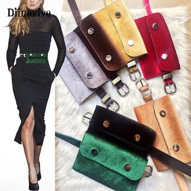 DIINOVIVO Waist Bag Women Velour Fanny Pack Fashion Retro Velvet Hip Bum Belt Bag Black 2018 High Quality Phone Pouch WHDV0555