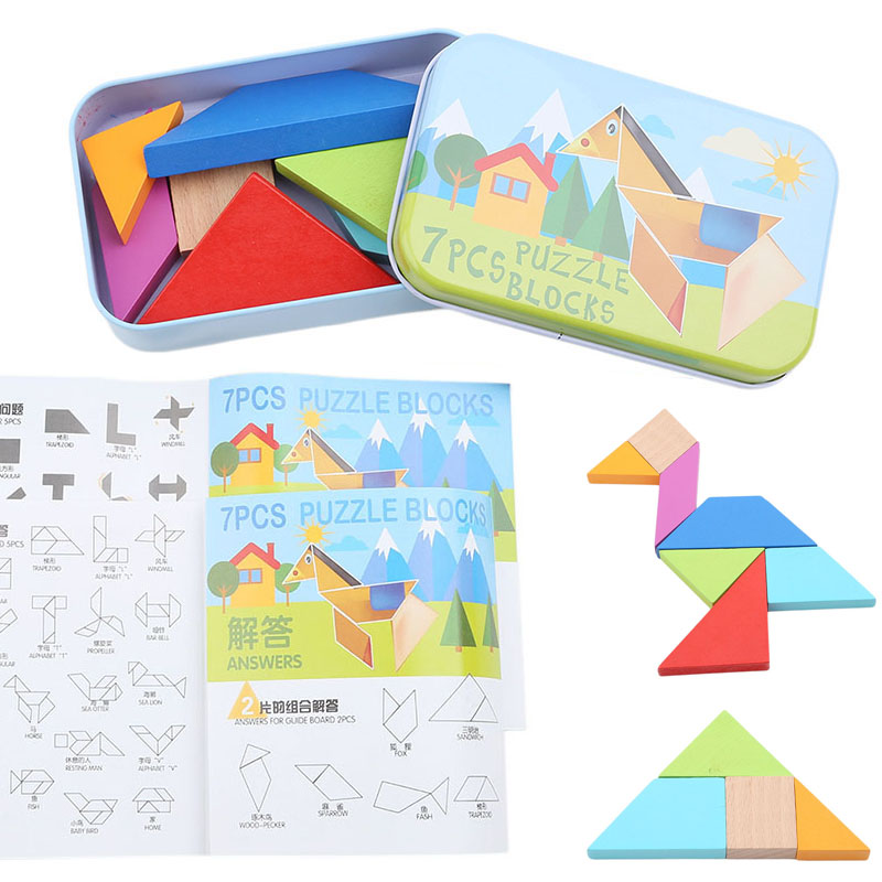 Iron Box Wooden Jigsaw Puzzle Kit Classic Geometric Shape Tangram Wooden Puzzle Children Tangram Puzzle Toys Educational Gift
