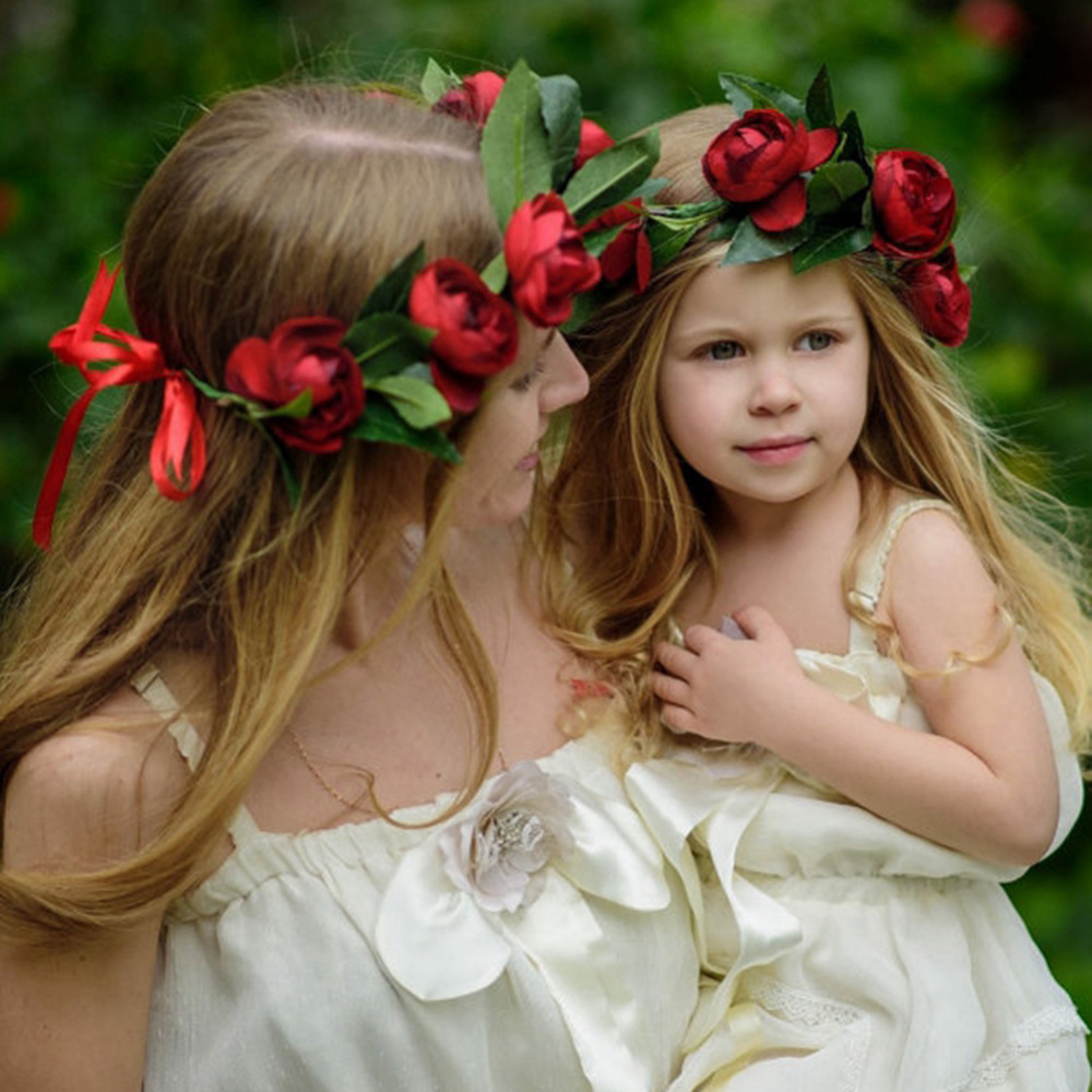 Mom and kids baby girl rose flower wreath festival wedding crown mom and kids baby girl rose flower wreath festival wedding crown headband hair bands photography props hair accessories in hair accessories from mother izmirmasajfo