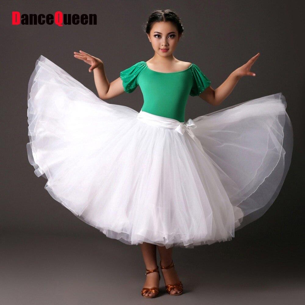 2017 New Girl Ballroom Dance Dress Puff-Sleeve Top Rayon&Yarn Swing Skirt Vestido De Baile Flamenco Escapulario Tango Waltz цена