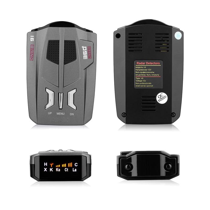 V9 Vehicle Radar Detector  English Russian   360 Degree Car Trucker Speed Sensor Voice Alert Warning 16 Band LED Display