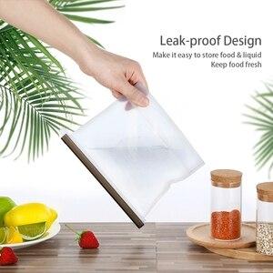 Image 5 - 8 個食品シリコーン新鮮なバッグ再利用可能な真空密封された冷凍庫バッグスライドロックスナック/サンドイッチマリネ収納袋ツール