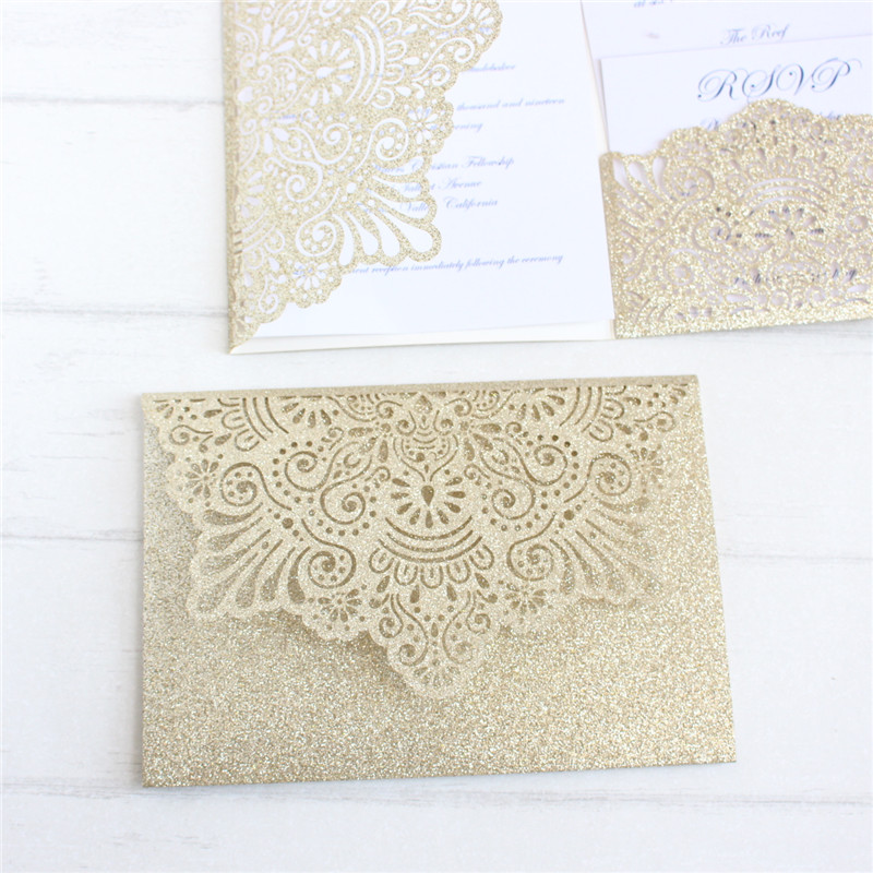 مضيء الليزر قطع دعوات زفاف 50 pcs الذهب الفضة مخصصة الطباعة إدراج بطاقة RSVP-في بطاقات ودعوات من المنزل والحديقة على  مجموعة 1