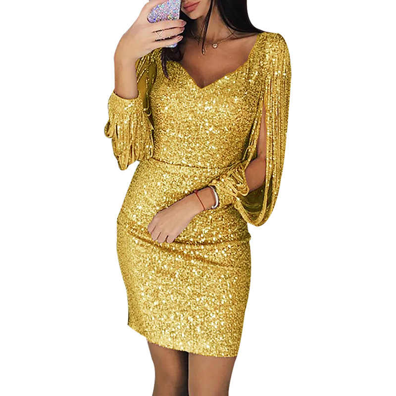 ... 2019 Fashion Sexy Women V Neck Solid Sequin Glitter Stitching Shining  Club Sheath Long Sleeved Mini ... a06e91215323