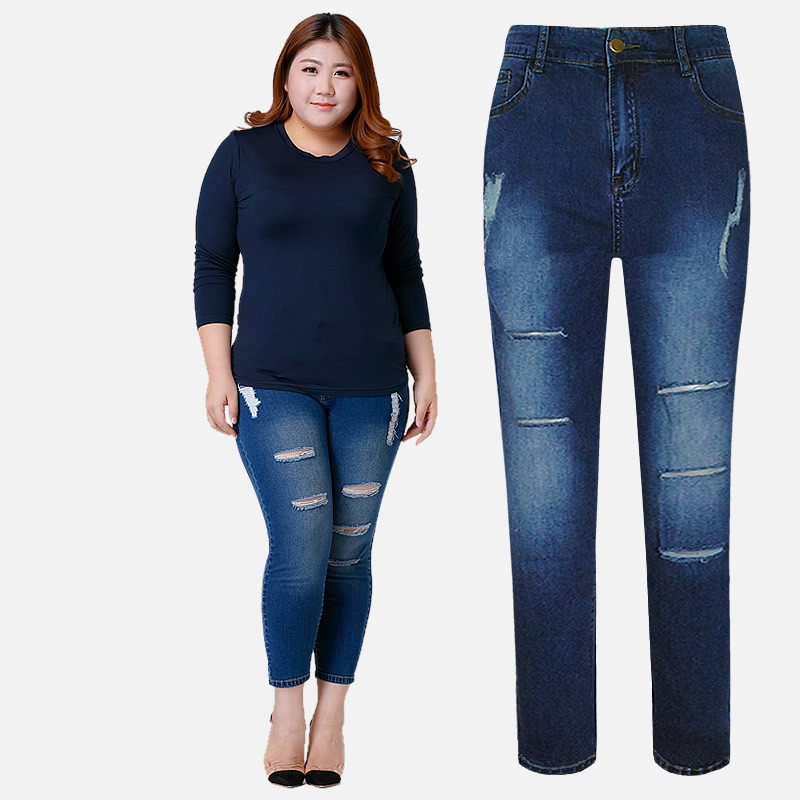 Plus Size 6XL 7XL Jeans Woman New Spring High Waist Stretch Ripped Jeans For Women Hole Pants Summer Denim Trousers Female C3174 plus size pants the spring new jeans pants suspenders ladies denim trousers elastic braces bib overalls for women dungarees