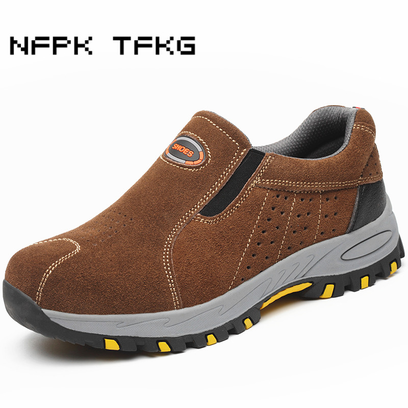 men's casual steel toe cap working safety shoes big size slip-on cow suede leather outdoors puncture proof security boots zapato big size men casual breathable steel toe cap working safety shoes soft leather non slip tooling security boots protective zapato