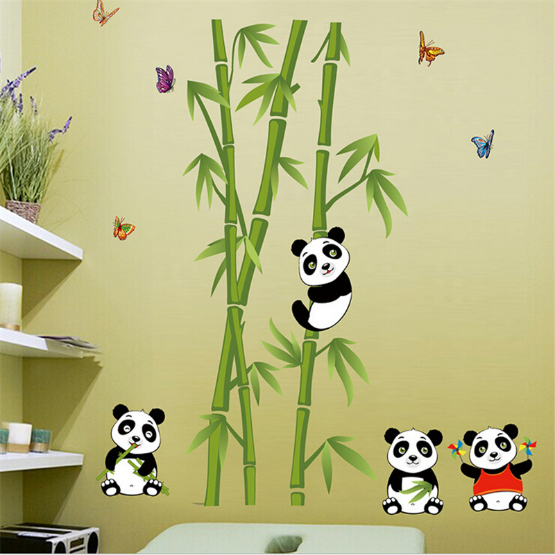new bamboo panda pegatinas de vinilo de pared para cuartos de los nios nios decoracin sof