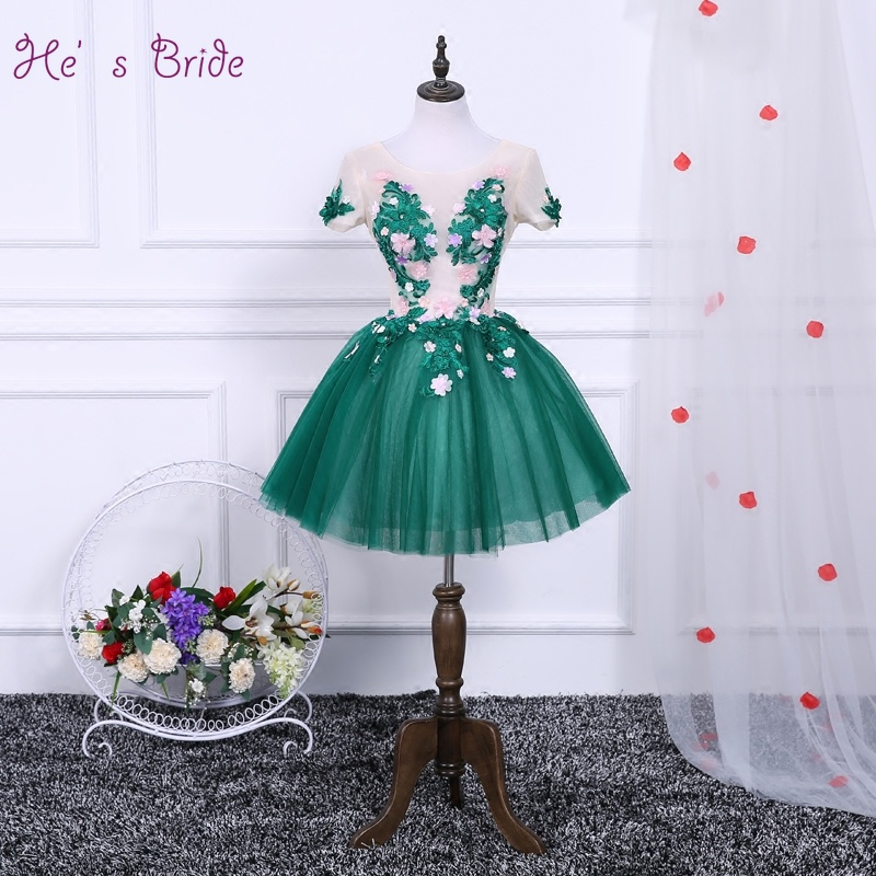 And Children Liberal Hes Bride New Sexy Cheap Short Embroidery Short Sleeves Lace Up Back Above Knee Mini Green Cocktail Dress Vestido De Coctel Suitable For Men Women