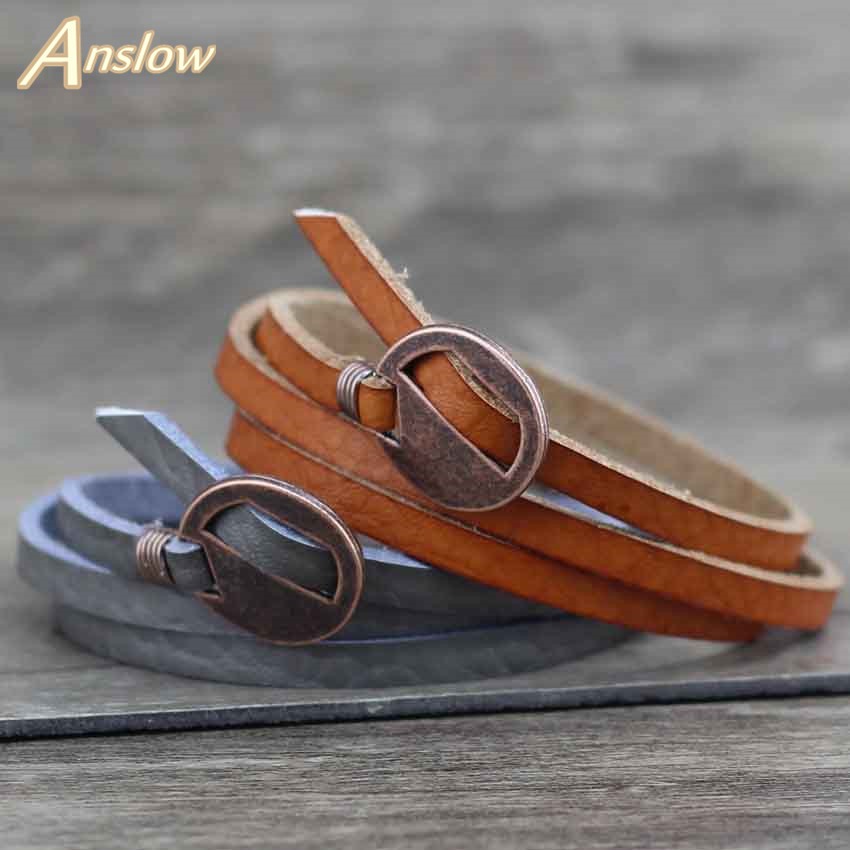 Anslow Brand New Design Fashion Jewelry Wholesale Vintage Multilayer Wrap Leather Bracelet For Men Women 65cm Gift LOW0232LB(China)