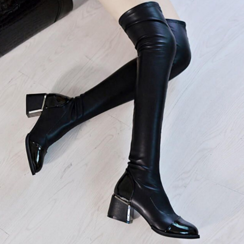300887c75 100 Xp Botas Mulheres black Shoes Equitação Toe Plush Pu Joelho Coxa Moda  Sobre Inverno Elastic 2018 O De Grosso Estiramento Boots Lantejoulas Salto  Couro ...