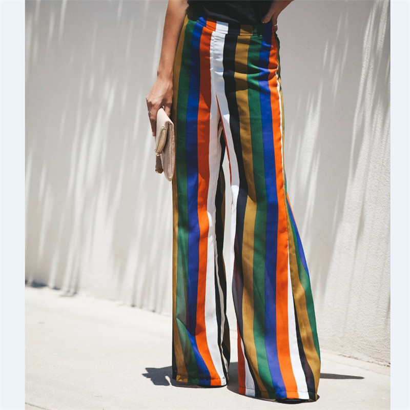 Meuhuida High Split Stripe Wide Leg   Pants   Women Summer Beach High Waist Trousers Chic Streetwear Sash Casual   Pants     Capris   Female