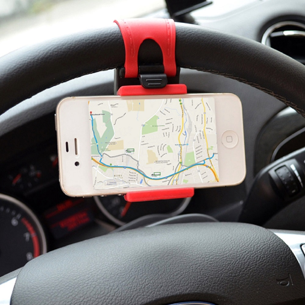 Car <font><b>Phone</b></font> Holder Mounted <font><b>on</b></font> Steering <font><b>Wheel</b></font> Cradle Smart Mobile <font><b>Phone</b></font> Clip Mount Holder Rubber Band For Samsung iPhone 5s 6 6s