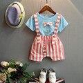 Preax Дети Новая мода мальчики одежда набор лето майка с галстук-бабочка полосатые габаритные брюки набор костюм для ребенка детская одежда