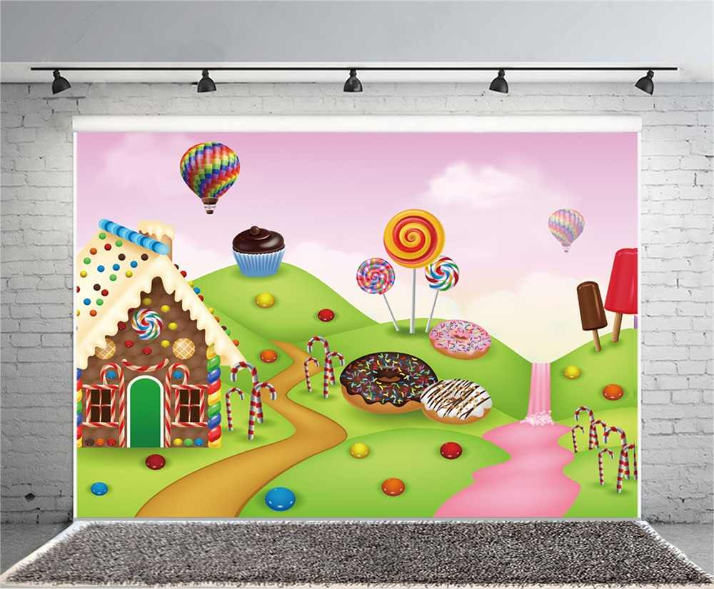 a6a5e55a70 ... Laeacco Cartoon Baby Lollipop House River Child Photography Backgrounds  Customized Photographic Backdrops For Photo Studio