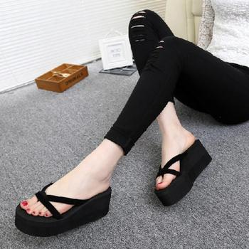 2019 Women Slippers Fashion Summer High Heel Slippers Beach Flip Flops Slipper Wedge Platform Beach Shoes Sandals 1