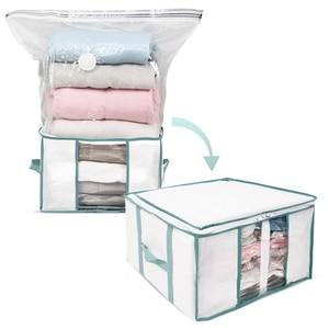 Image 1 - Caja de almacenamiento plegable TAILI para ropa/almohada/edredones/organizador de edredón con bolsa al vacío incorporada, resistente a la humedad y a prueba de insectos para ahorrar espacio