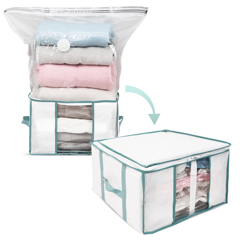 Taili Foldable Storage Box For Clothes/Pillow/Quilts/Duvet Organizer Built In Vacuum Bag Moisture&Insect Proof For Saving Space by Ali Express.Com