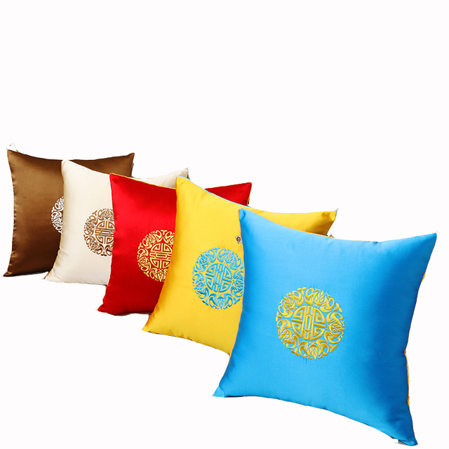 Fine Embroidery Luxury Chair Covers Christmas China Cushion Cover Pillow Case Office Home Decoative Silk Cover Cushion Pillow