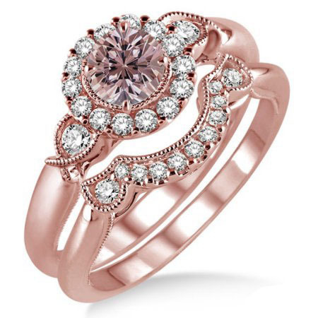 HUITAN Luxury 2PC Engagement Ring Set Rose Gold Color Flower Shaped Coupe With Dazzling Tiny CZ Paved Wedding