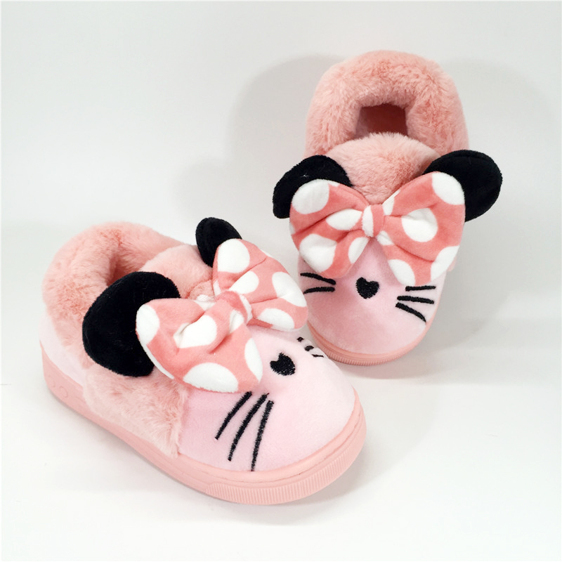 KINE PANDA Children Slippers Winter Warm Kids House Shoes Baby Girl Boy With Plush Pantoufle Enfant Girls Indoor 1 2 3 Years Old