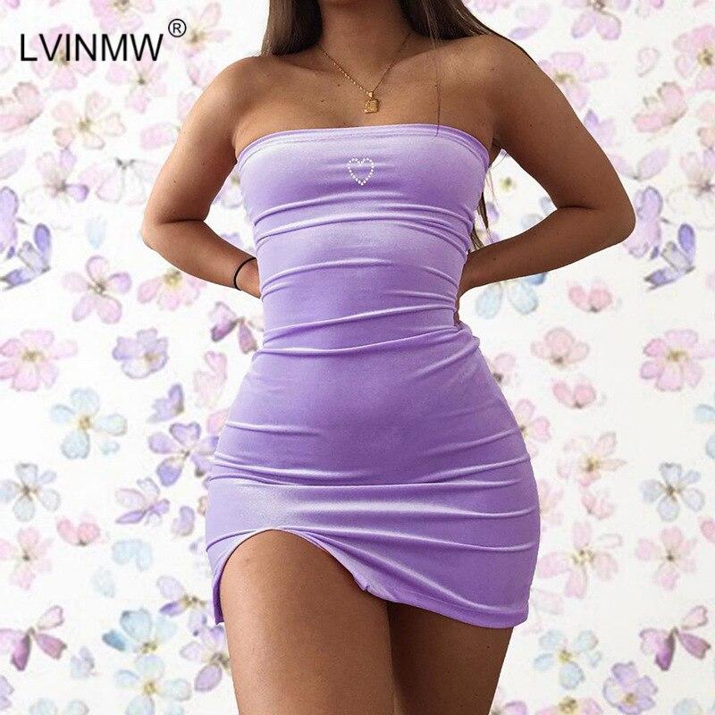 LVINMW Sexy Velvet Slash Neck Love Print Side Split Mini Dress 2019 Summer Women Sleeveless Backless Slim Dresses Female Party