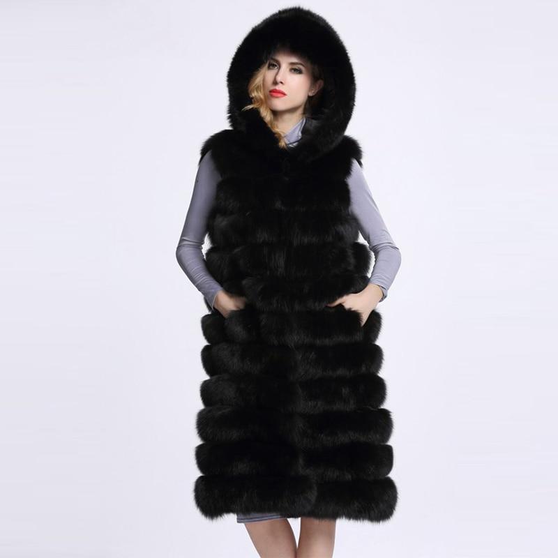 HONGZUO 2017 Zimní dámská umělá kožešinová prodloužená vesta s kapucí samice Vysoce kvalitní umělá liška s kůží X-Long Coat PC247