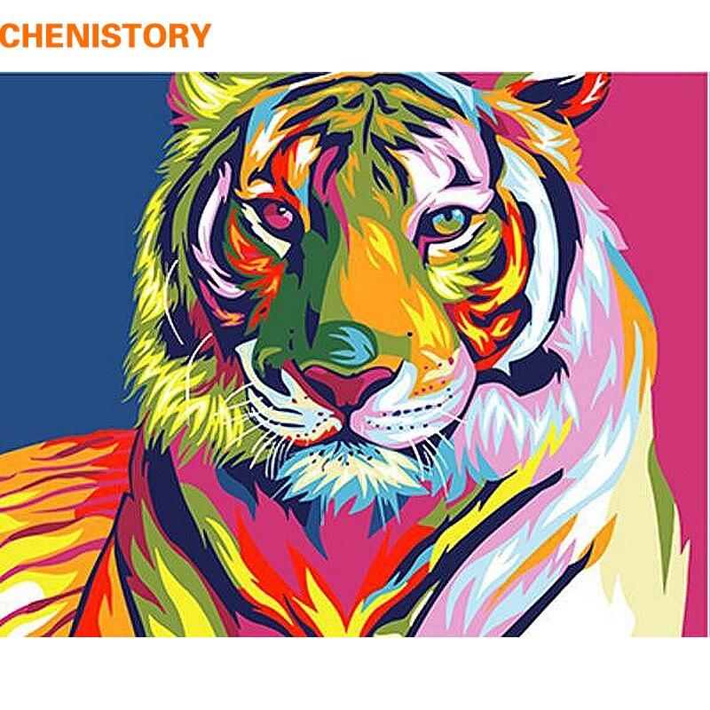 CHENISTORY coloré tigre animaux peinture à la main par numéros Kits peinture sur toile peint à la main peinture à l'huile pour décoration murale 40x50