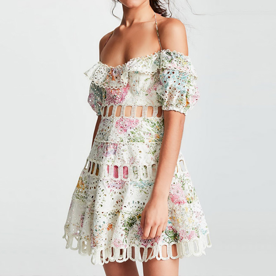 Runway 2019 Summer Floral Print Women Dress Off Shoulder Backless Slash Neck Hollow Out Sexy Dress