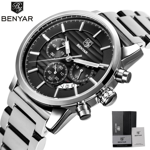f9ef0623d BENYAR Watches Men Chronograph Stainless Steel Calender Water Resistant  Formal Wristwatches Man's Casual Male Clock Montre