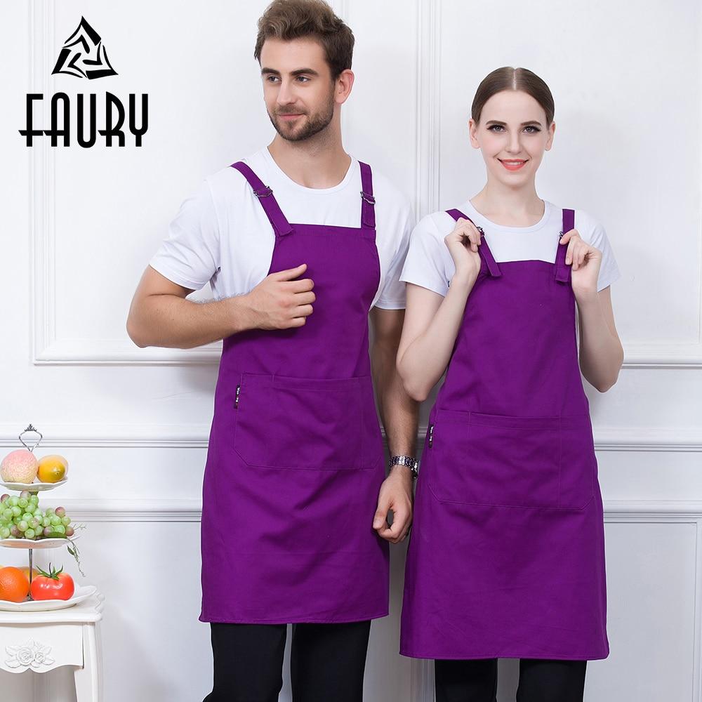 7 Color Unisex Adjust Buckle Double Strap Sleeveless Pocket Chef Kitchen Home Cook Workwear Uniform Apron Food Service Aprons