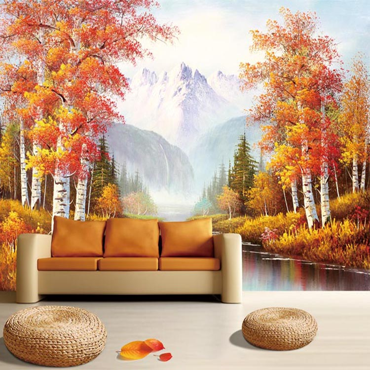 European Retro Style Trees Painted Wall Murals Study Room Wall Large Oil  Painting Art Deco Wallpaper