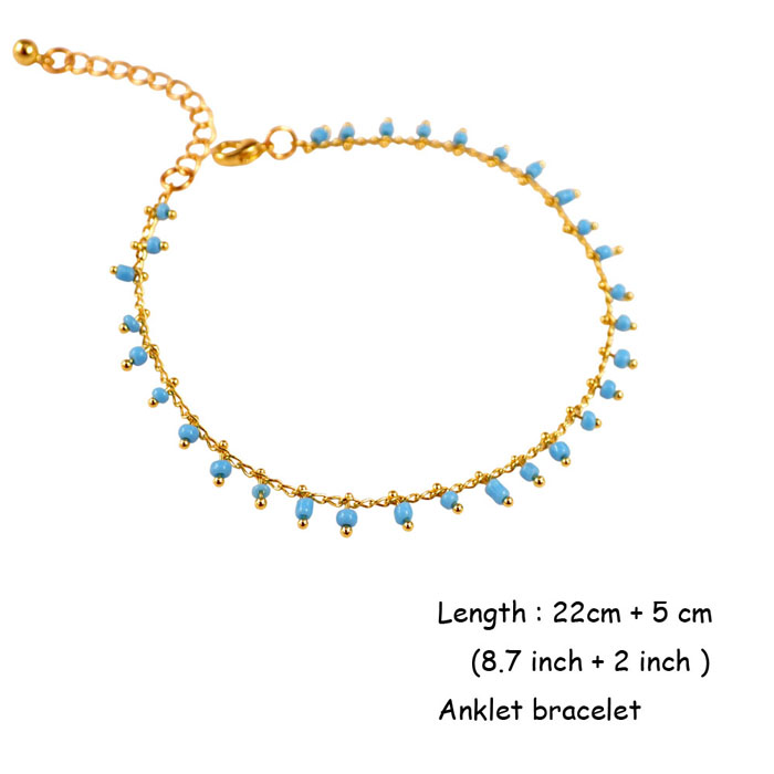 Jewelry & Watches Strict Fashion Ankle Bracelet Turquoise Bead 2 Layer Charm Anklet Silver Chain Anklets