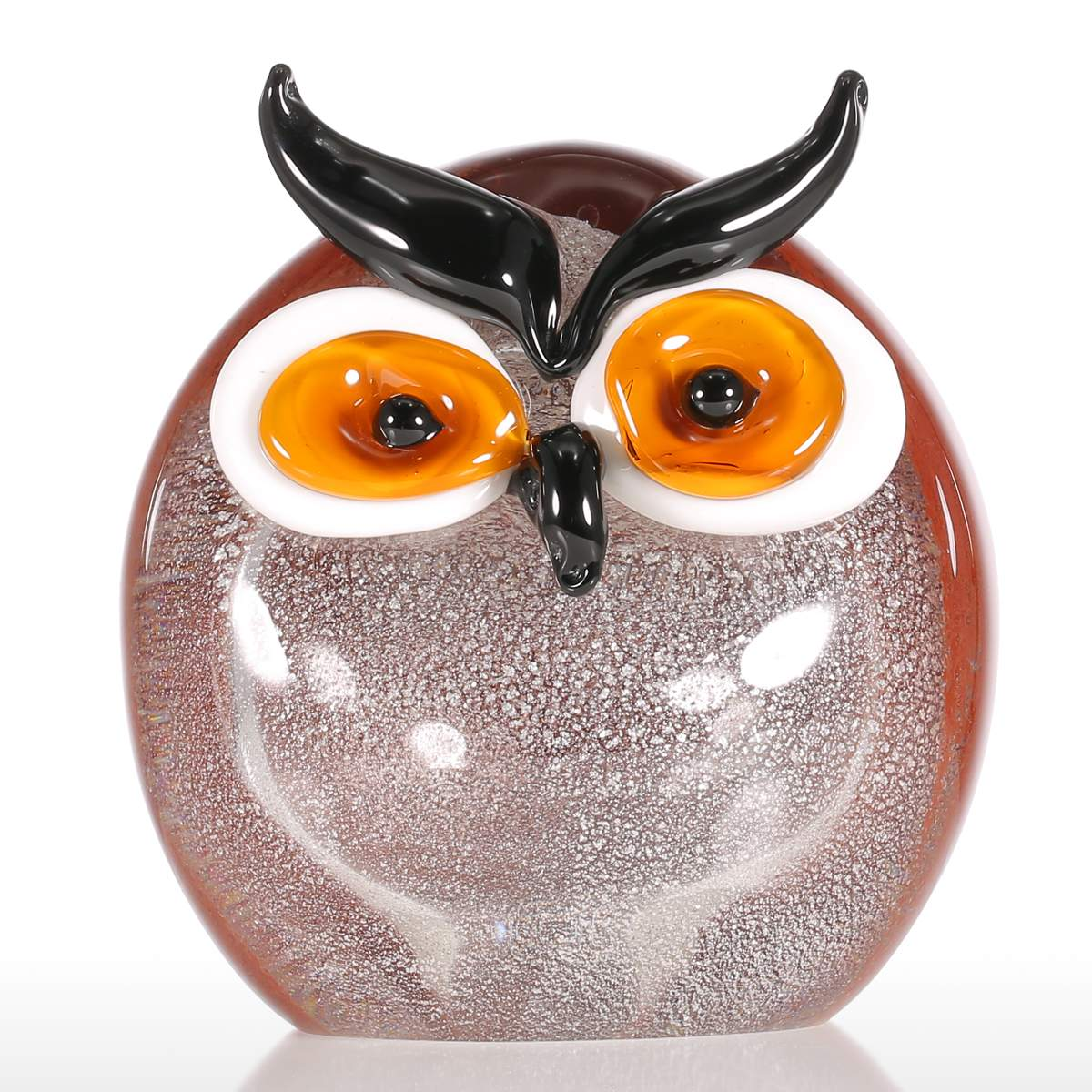 Glass animal ornaments - Tooarts Chubby Owl Glass Ornament Animal Figurine Handblown Home Decor Multicolor Model Decorative Office Decoration Craft