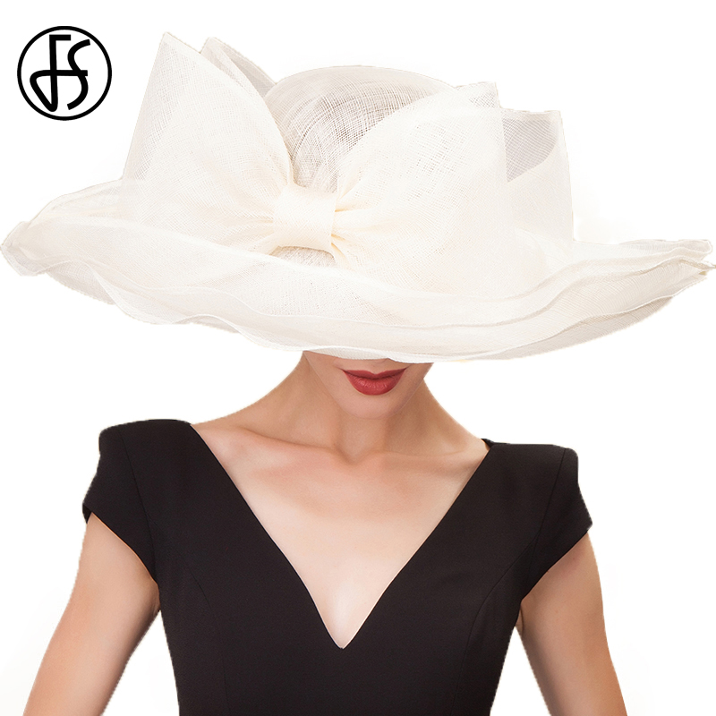 Здесь продается  FS Elegant Black Beige White Linen Wedding Hats Ladies Bowknot Large Wide Brim Chapeau Fedora Sinamay Womens Kentucky Derby Hat   Одежда и аксессуары