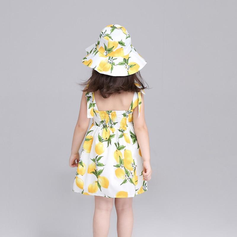 f43eaaec6e Girls Summer Dress Floral Kids Clothes Cute Children Princess Lemon  Printing Baby Girls Dresses + Hat Suspender Dress-in Dresses from Mother    Kids on ...